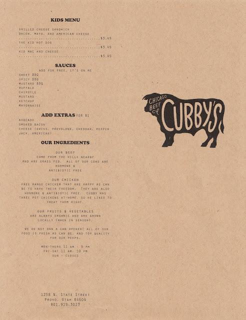 Cubby's Menu