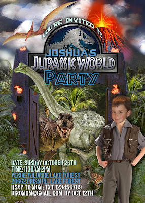 Jurassic World Personalized Invitation