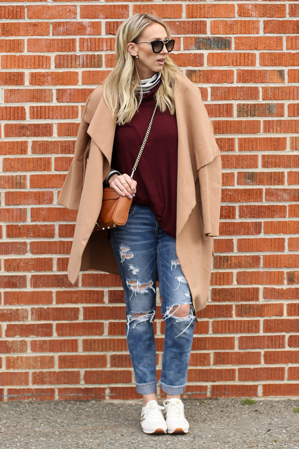 ripped jeans sneakers turtlenecks camel wool coat parlor girl