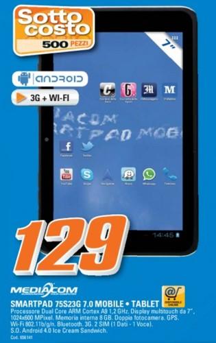 In offerta sottocosto un buon tablet mediacom con modulo 3g da sette pollici capace pure di effettuare chiamate telefoniche