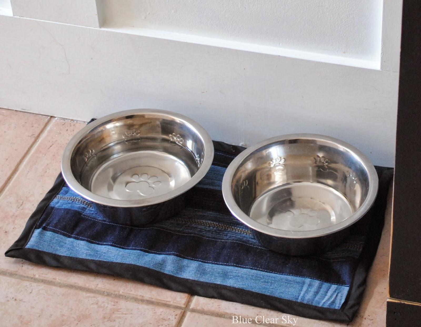 Rustic Maple: Quilted Denim Dog Bowl Mat