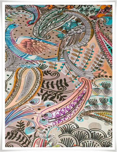 Fantastiskt färgrikt tyg med paisleymönster