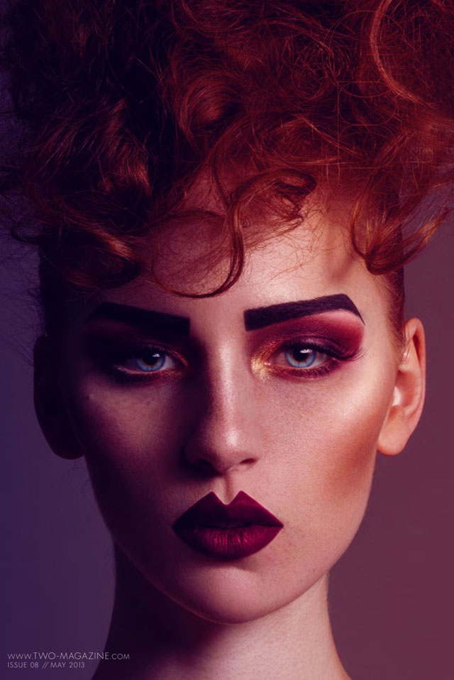 strong brows, makeup, lips, red hair