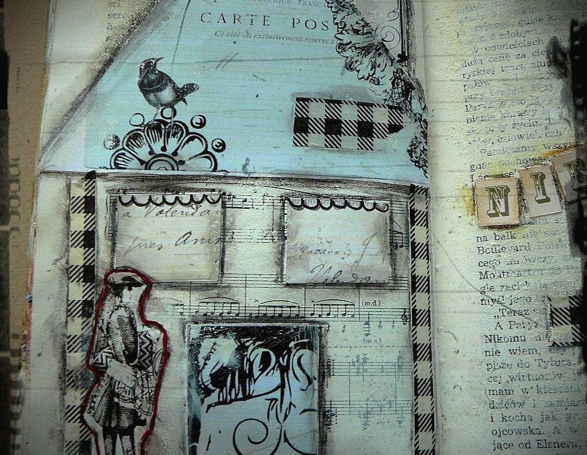 wpis do art journala - domki