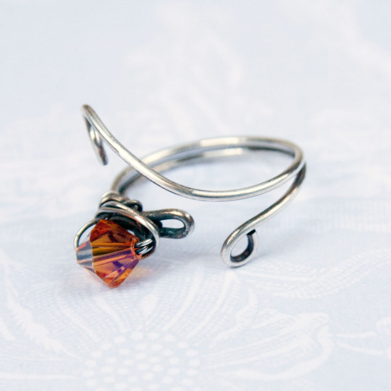 adjustable silver wire ring elven swirls and