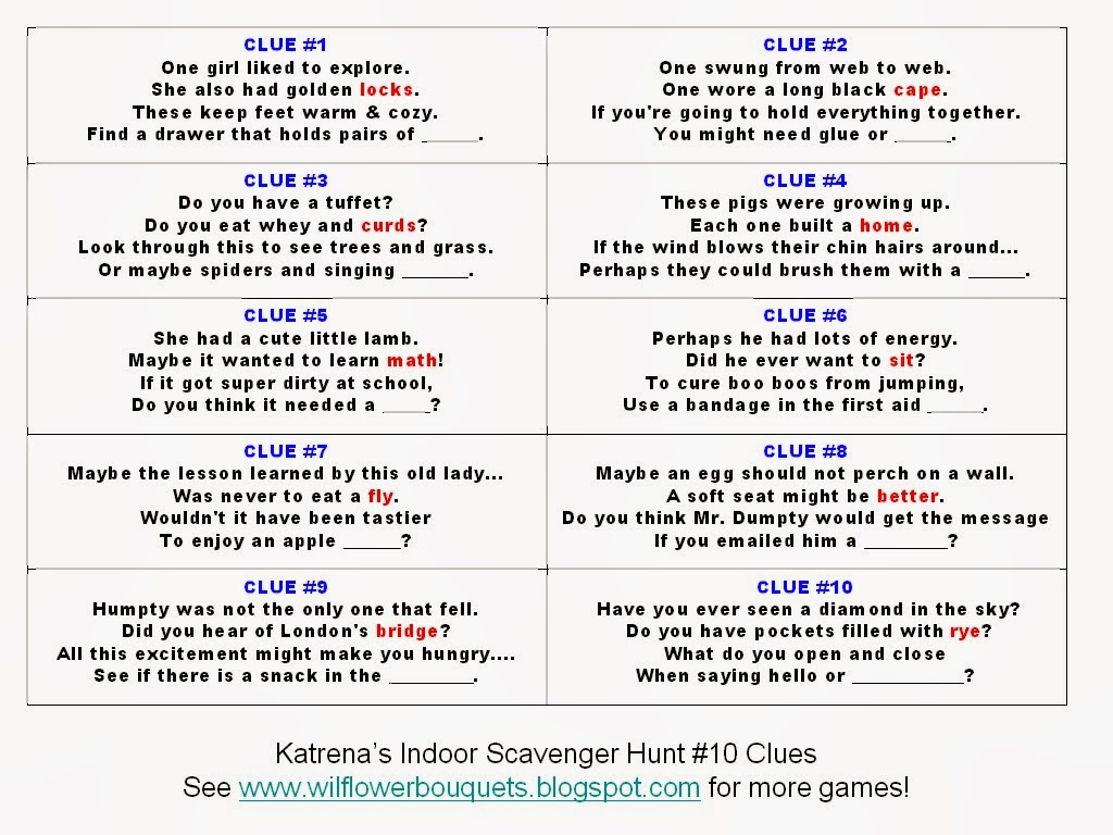 ... Pleasures: Katrena's Indoor Scavenger Hunt #10: Popular Characters