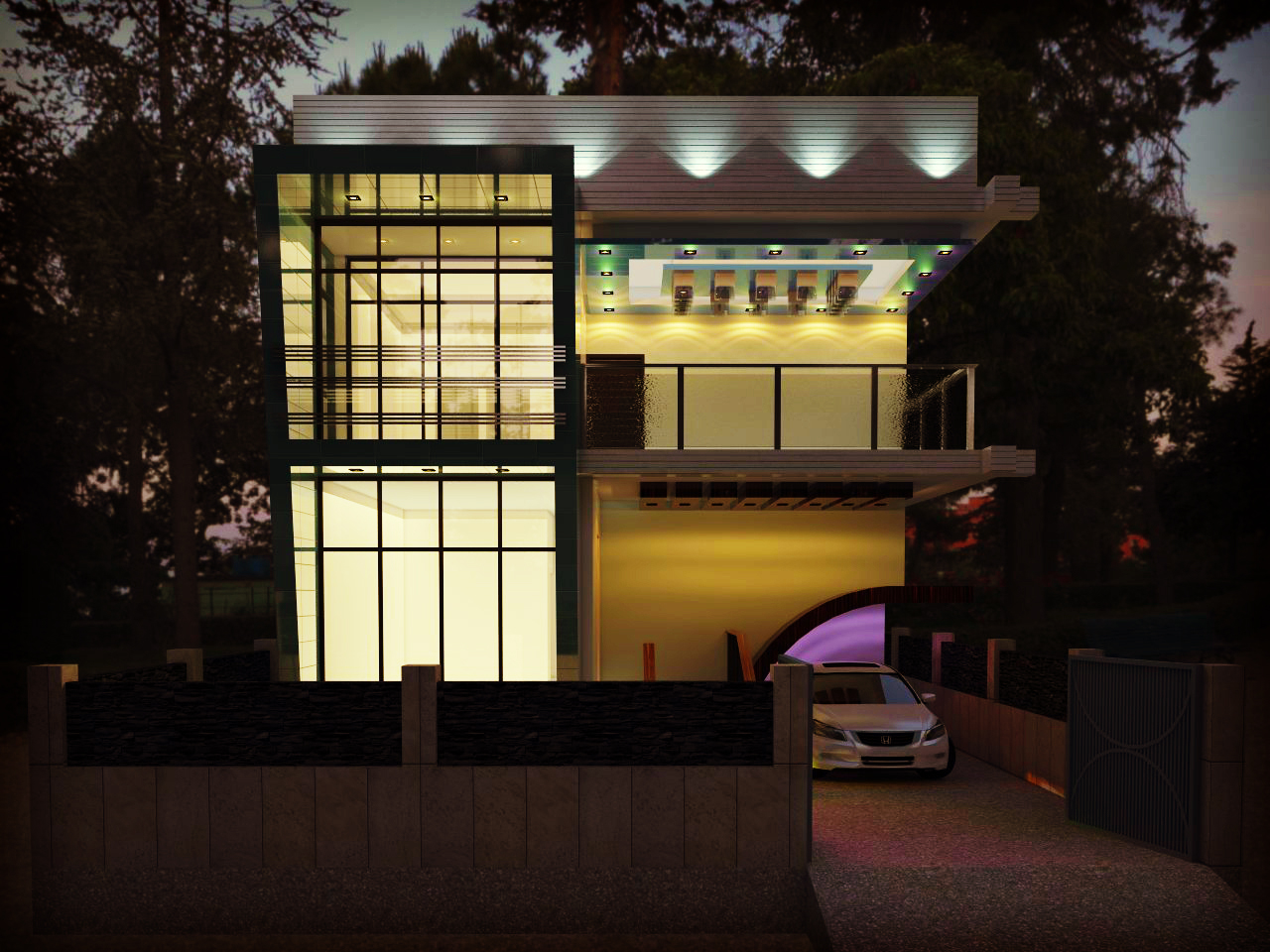 Modern house concept 3d design for Balcony ceiling design