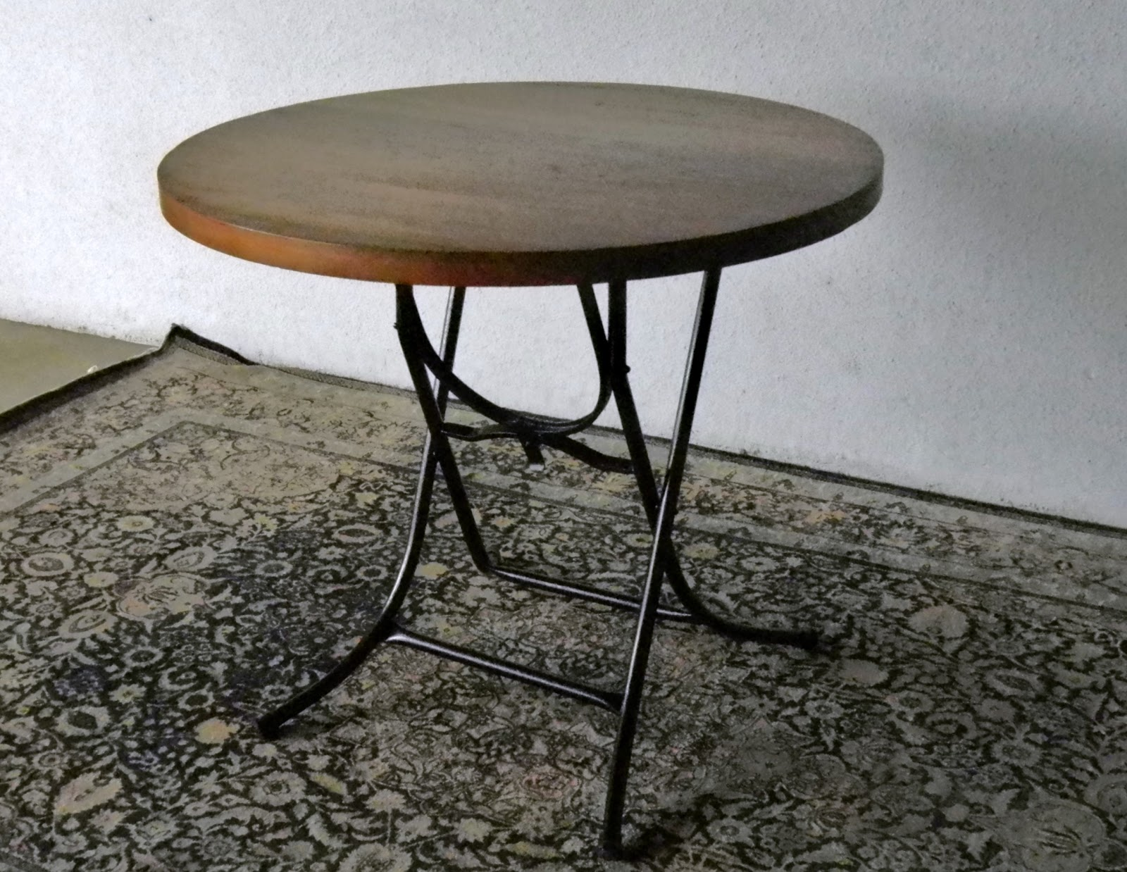 Vintage Round Foldable Table. Solid Teak Top.