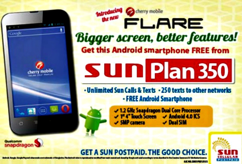 Cherry Mobile Flare Free on SUN Plan 350