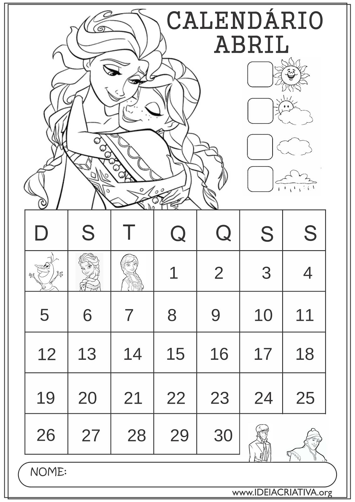 Calendários Abril 2015 Anna e Elsa Frozen  para Colorir Educação Infantil