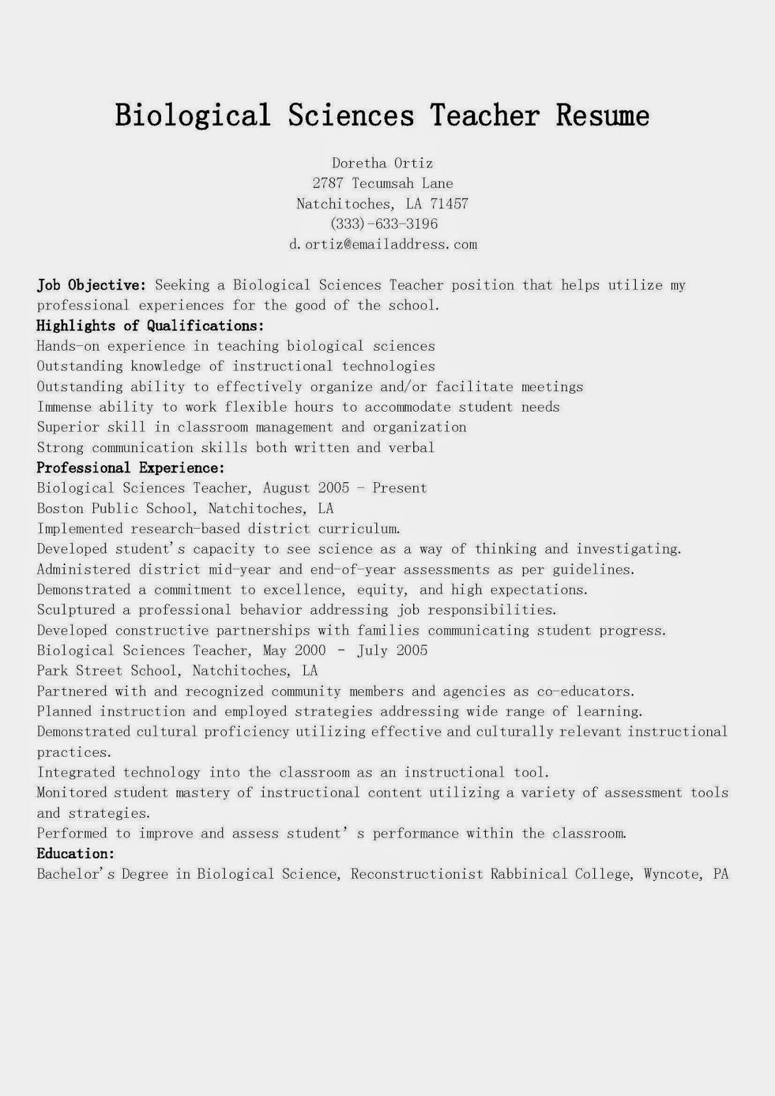 resume samples  biological sciences teacher resume sample