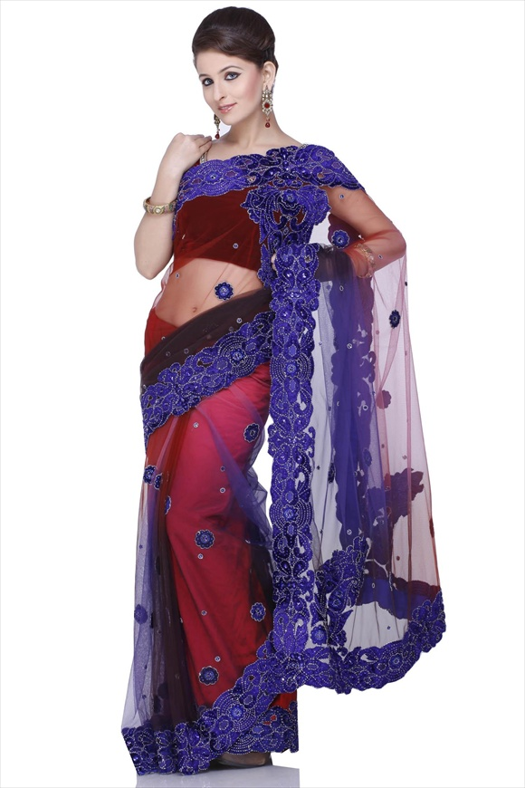 True Navy Net Saree