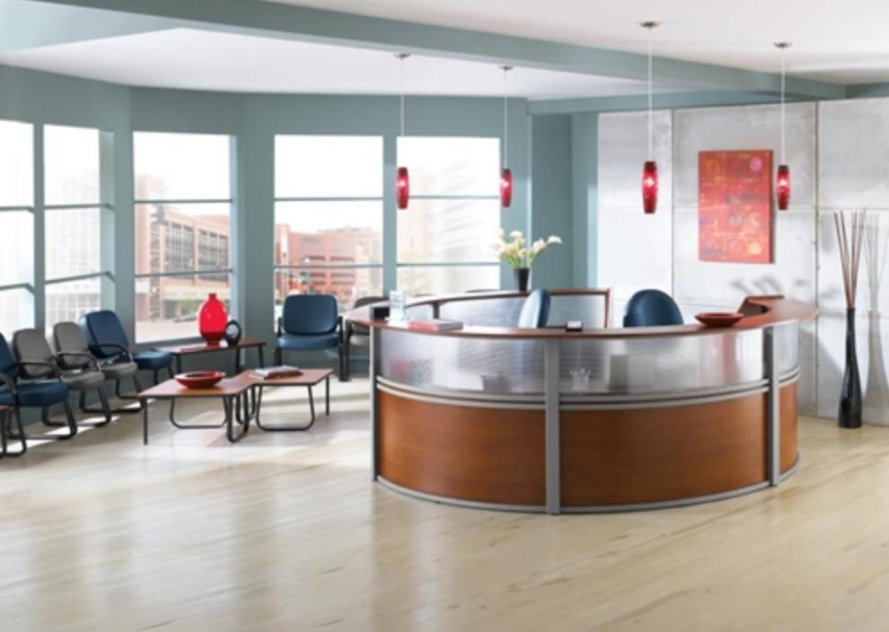 Curved Reception Desk by OFM