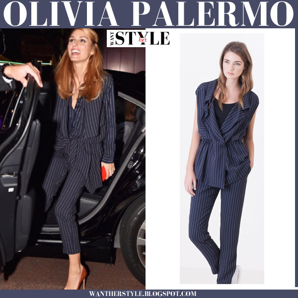 Olivia Palermo in blue pinstripe blouse, vest and pants max & co what she wore
