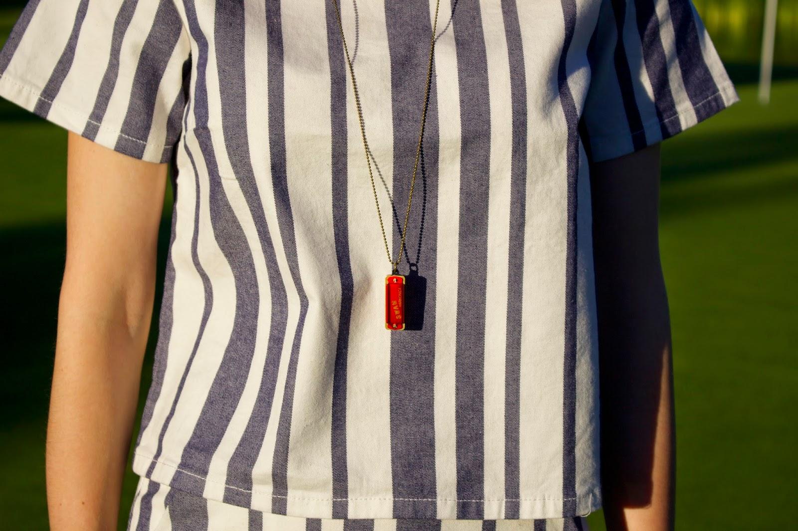 matching separates, mcm bag, too faced chocolate bar, topshop moto stripe, what i wore