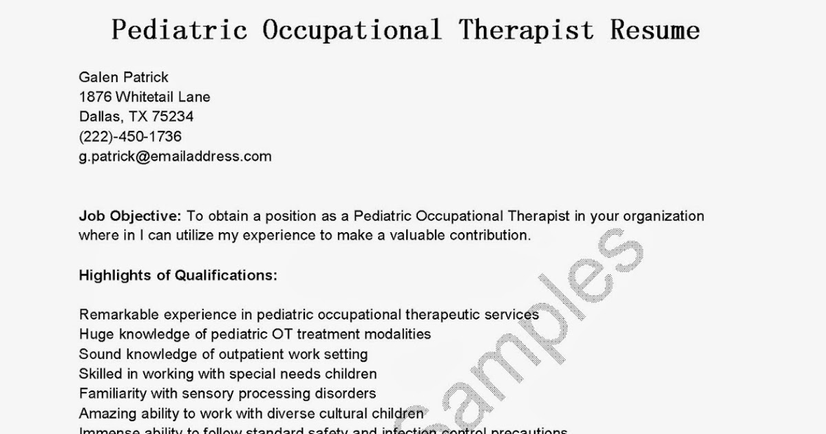 Sample Occupational Therapist Resume Physical Therapy Aide Jobs – Occupational Therapy Resume Template
