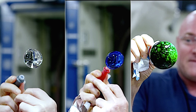 NASA's Astronaut playing with ball of water and color dye