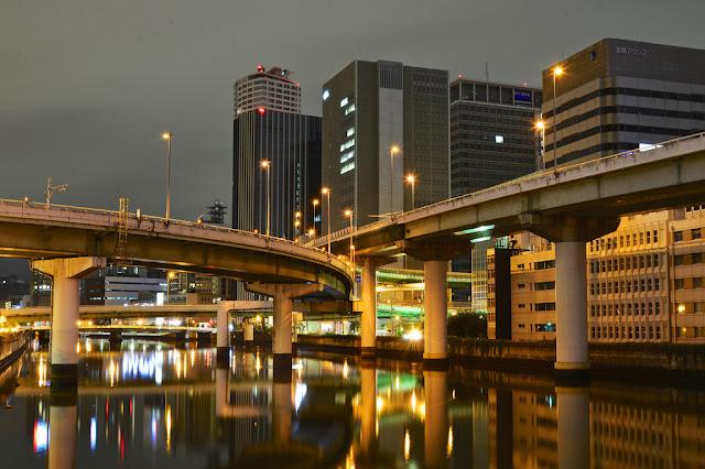 Hanshin Expressway, autostrada, nocą, Japonia