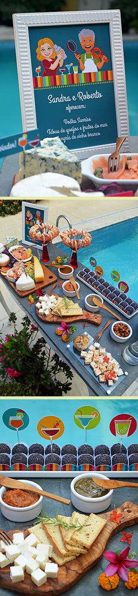 O almoço na piscina
