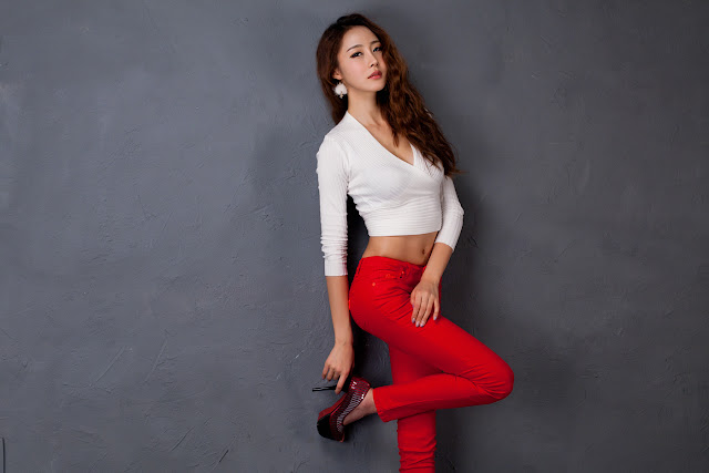 Eun Bin - Red Jeans and White Top