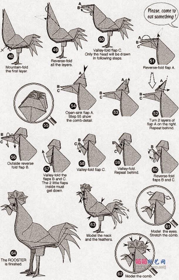 Оригами петуха схема модульное оригами
