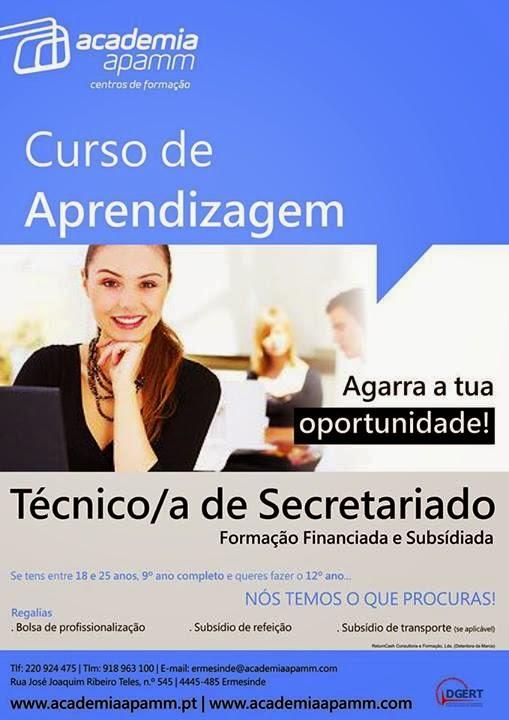 curso de aprendizagem de secretariado em Ermesinde