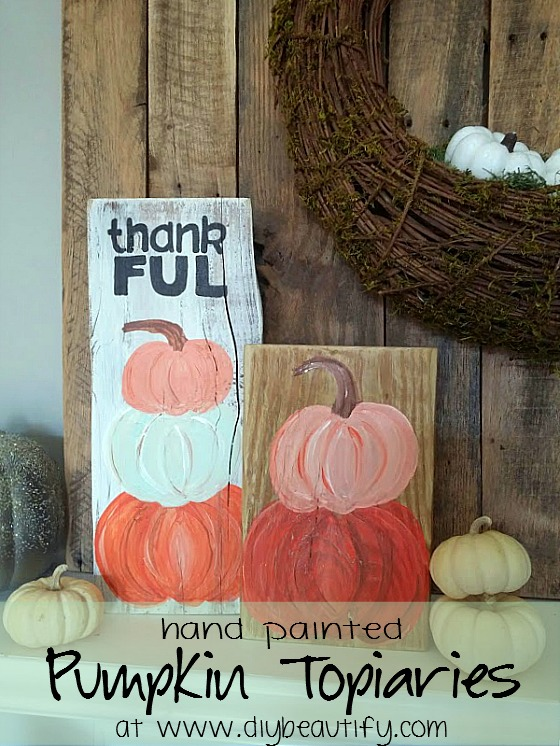 painted pumpkin topiary signs