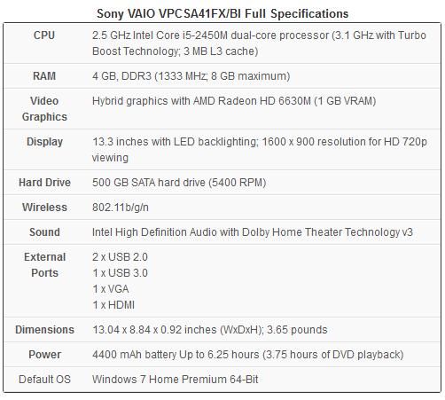 Sony VAIO VPCSA41FX/BI Laptop Full Specifications