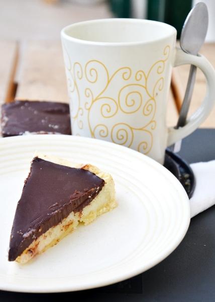 torta di semolino con ganasche al cioccolato fondente