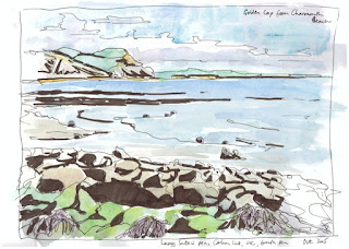 Golden Cap from Charmouth, ink and wash