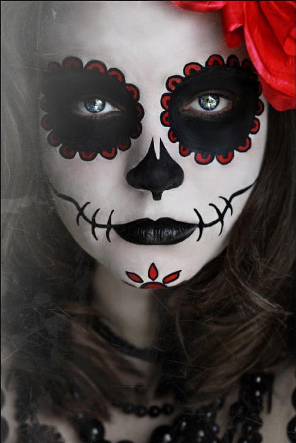 Maquillaje de calavera mexicana Día de los muertos