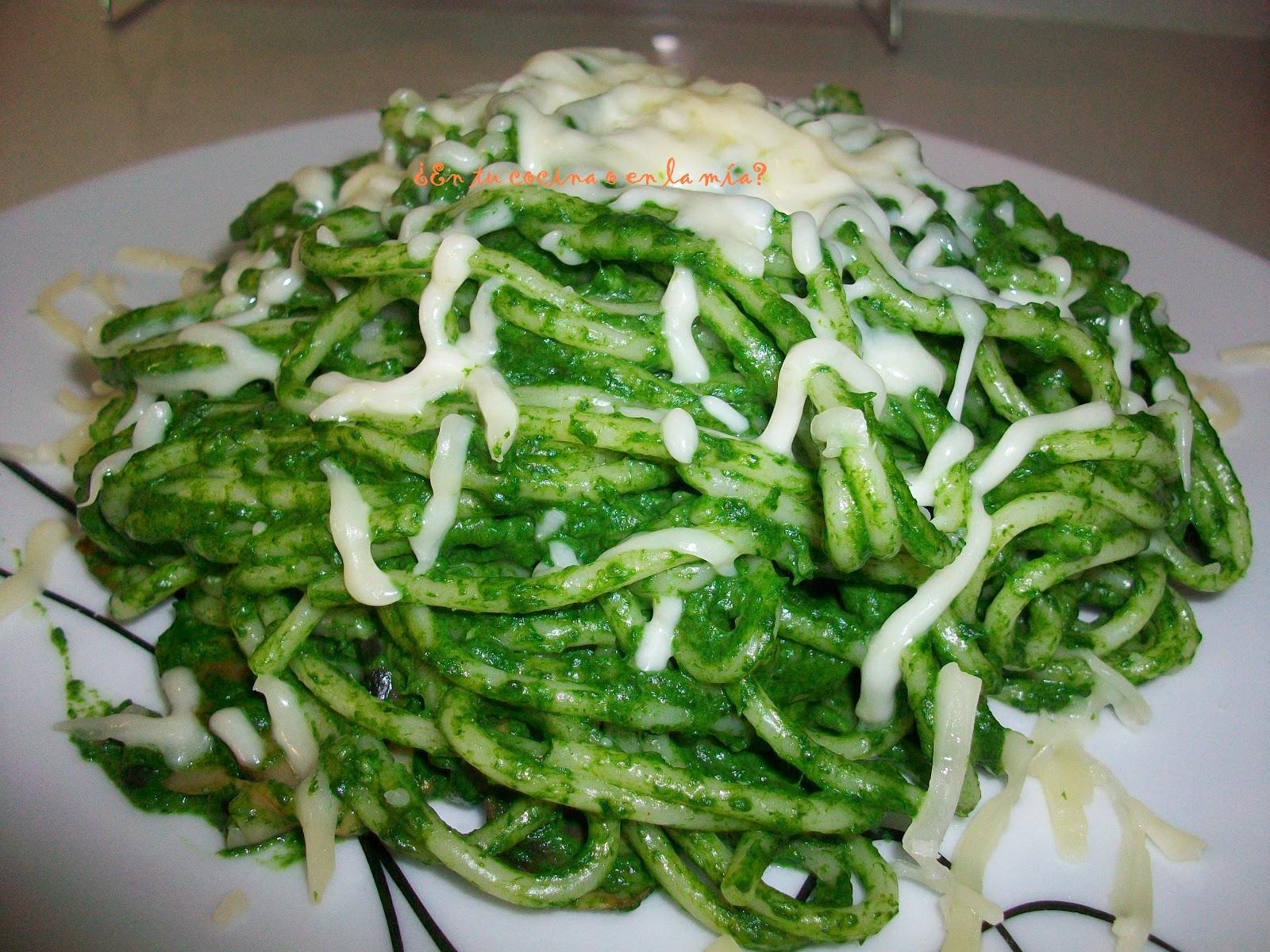 En tu cocina o en la m a espaguetis con espinacas y - Espaguetis con gambas y champinones ...