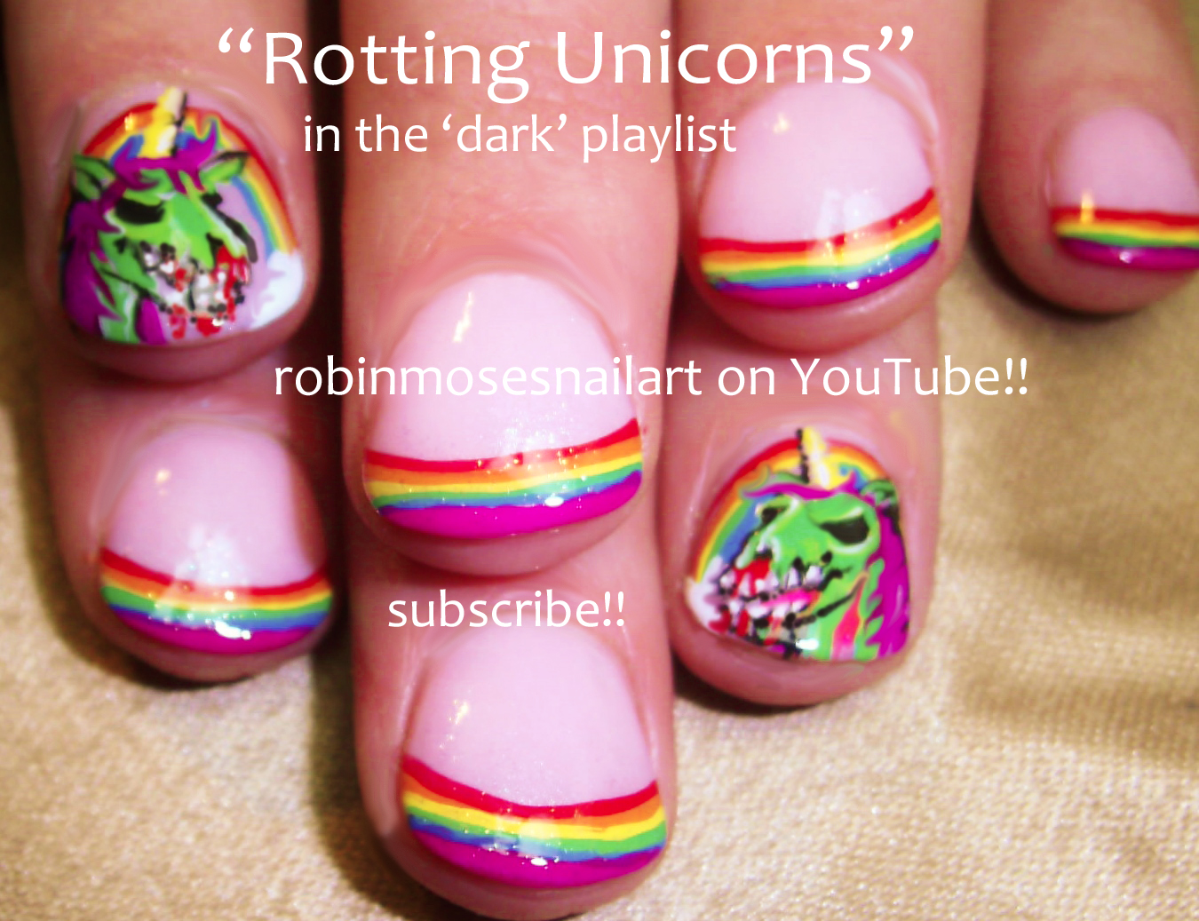 Zombie Unicorn Nails Rainbow Tip Nail Art Tutorial Evil Rotting Epic French