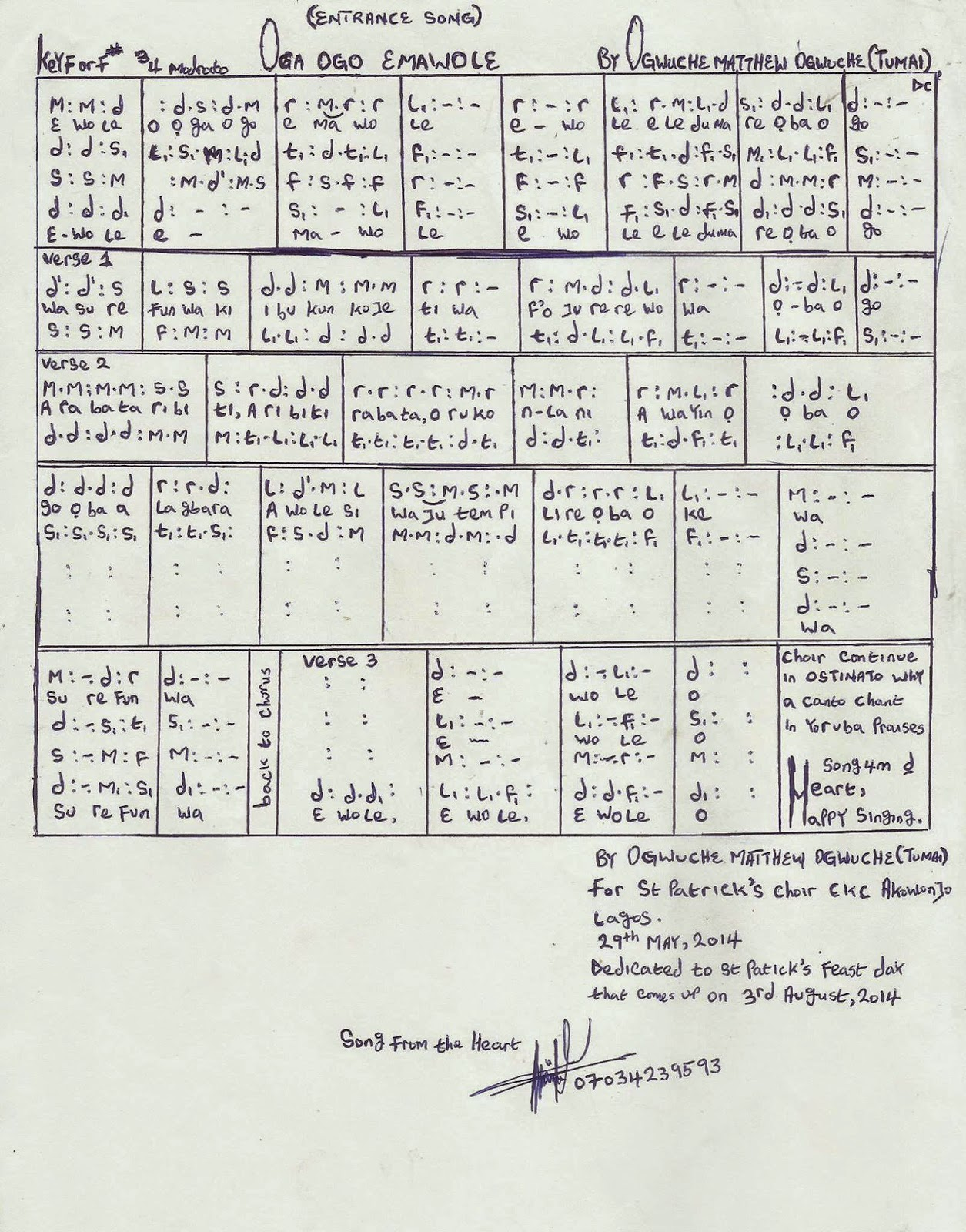 Oga Ogo Emawole Sheet Music