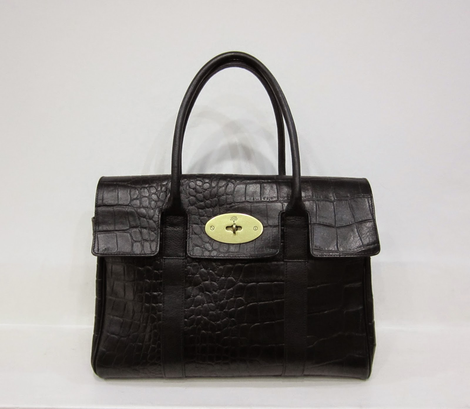 Mulberry Black Leather Mock Croc Bayswater Bag
