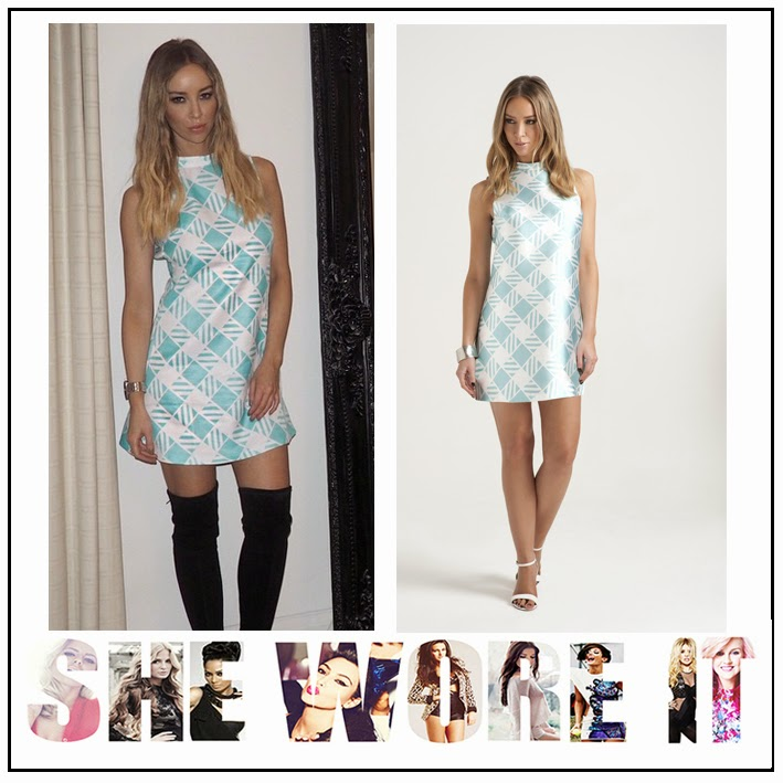 Back Detail, By Lauren Pope, Celebrity Fashion, Cut Out Detail, Dress, Geometric Print, High Neck, INTHESTYLE, Lauren Pope, Mini Dress, Mint Green, Pastel, Sleeveless, The Only Way Is Essex, TOWIE, White,