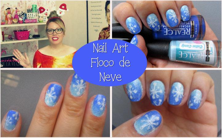 Nail art floco de neve, esmaltes realce, esmaltação usando esponja, Nail art de natal. Unhas natalinas, unhas decoradas