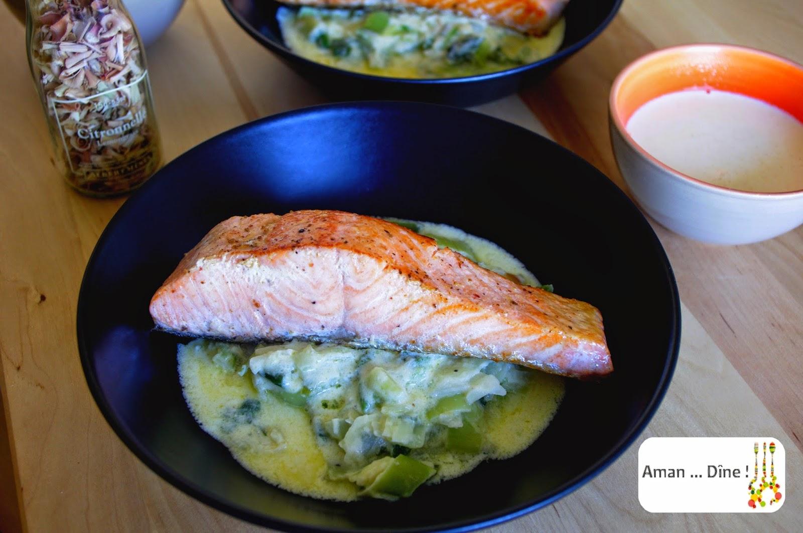 Saumon grillé et fondue de poireaux au cheddar