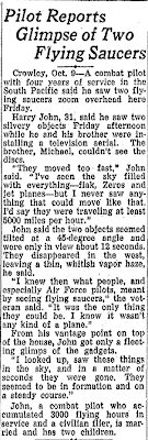 Pilot Reports Glimpse of Two Flying Saucers - State Times Advocate (Baton Rouge, LA) 10-9-1950