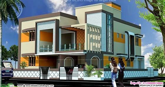 4 bedroom tamilnadu style house exterior kerala home for Bedroom designs tamilnadu