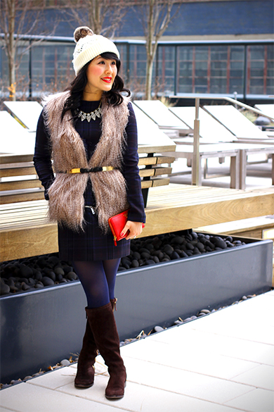 Uniqlo sleeveless top with Sabine faux fur vest