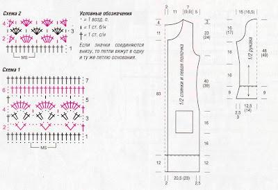 http://www.vyazemsami.ru// Ажурное пальто Схема Выкройка