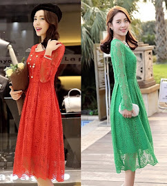 Green/Red Long Sleeve Foliage Lace Flare Past Knee Length Dress