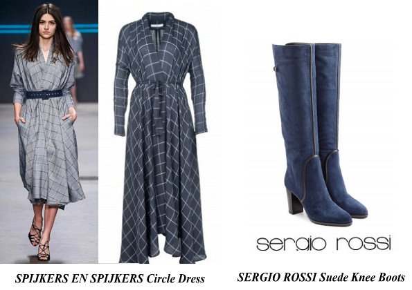 Queen Maxima's Spijkers en Spijkers Circle Dress And SERGIO ROSSI Suede Knee Boots