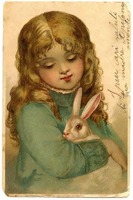 Vintage со Пасхи Изображение девушки Банни Графика Fairy