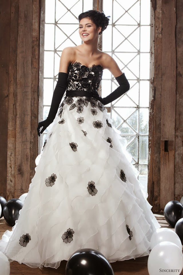 Black And White Wedding Dress Ball Gown