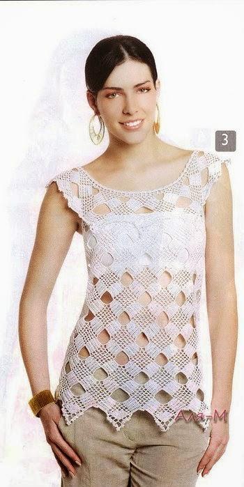 Blusa sin mangas tejida al crochet