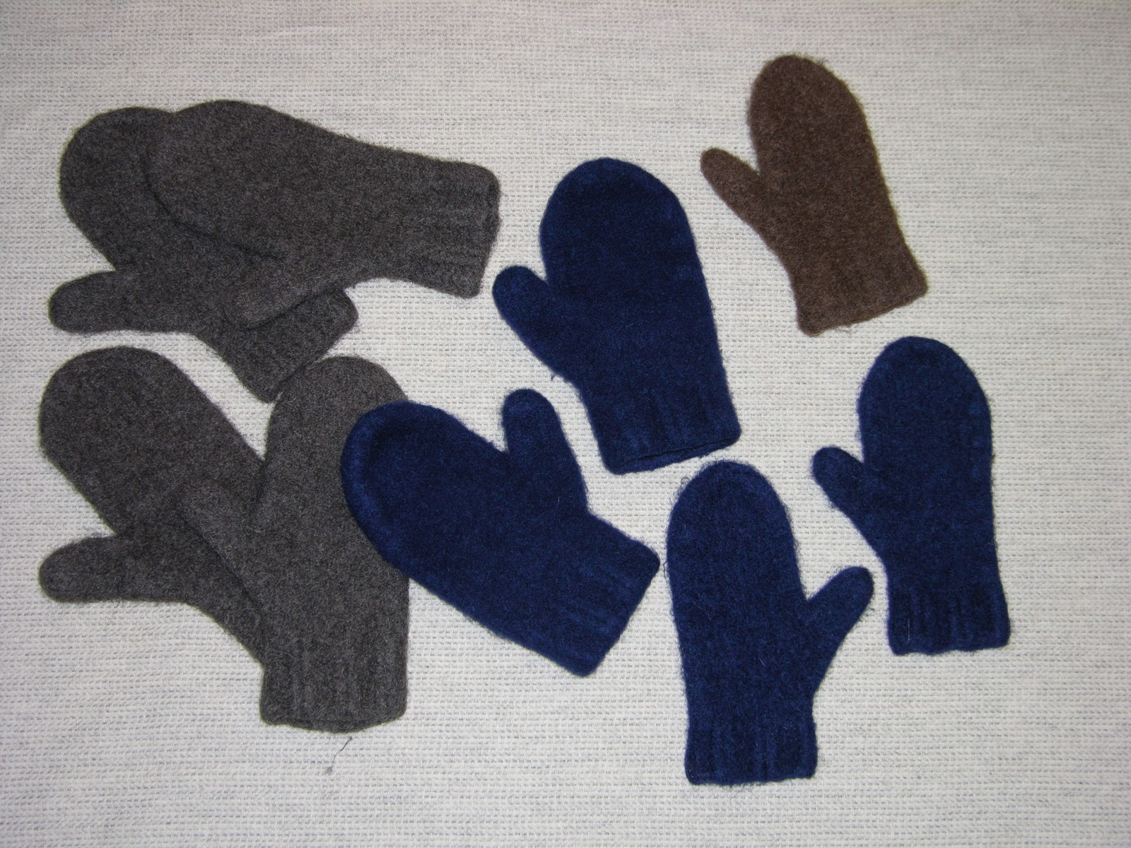 Here are the felted pairs that just came out of the wash.