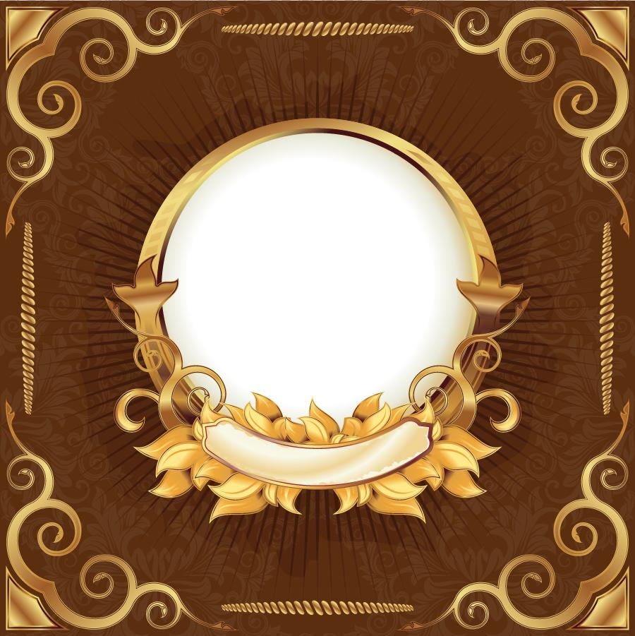 金色のリボン飾りが豪華なフレーム gorgeous gold ribbon lace pattern vector イラスト素材1