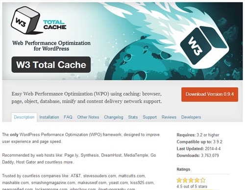 Plugin SEO WordPress Terbaik W3 Total Cache